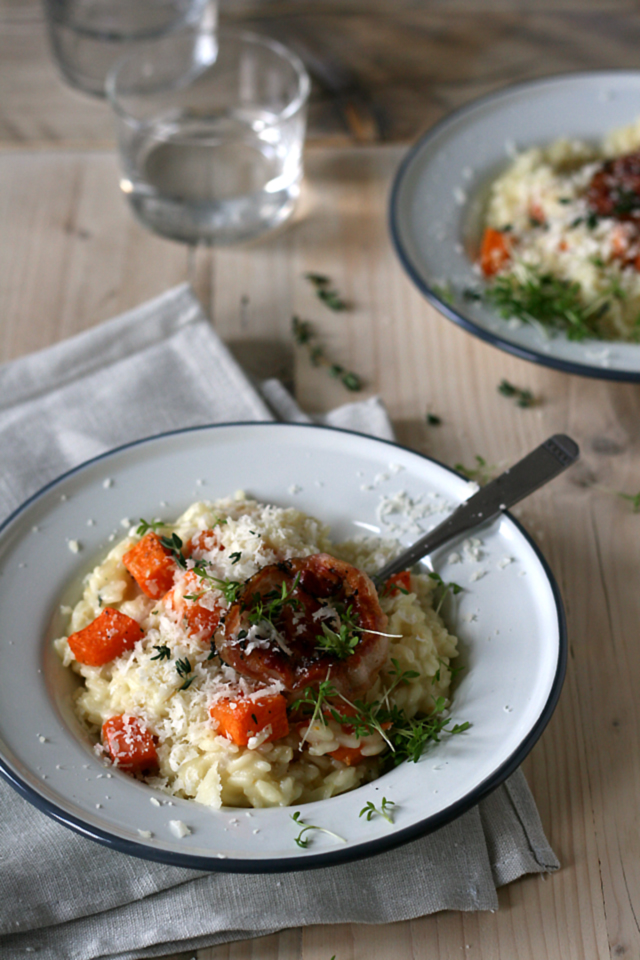 Pompoenrisotto met geitenkaas, pancetta & tijm