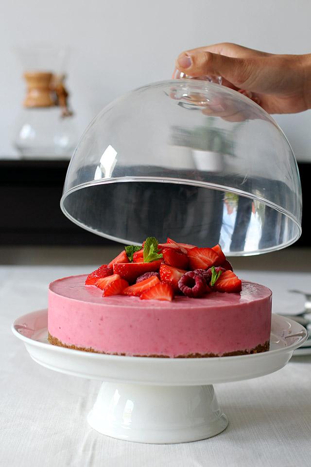 Recept bevroren frambozen aardbeien cheesecake / frozen cheesecake