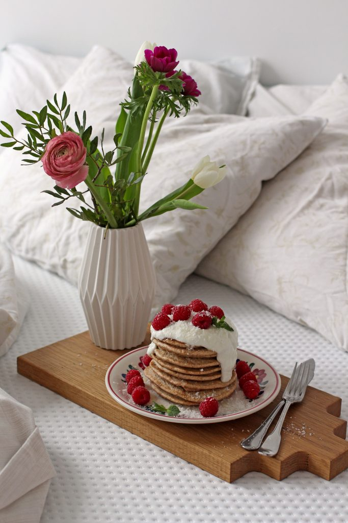 Fluffy pancakes met vanille mascarpone