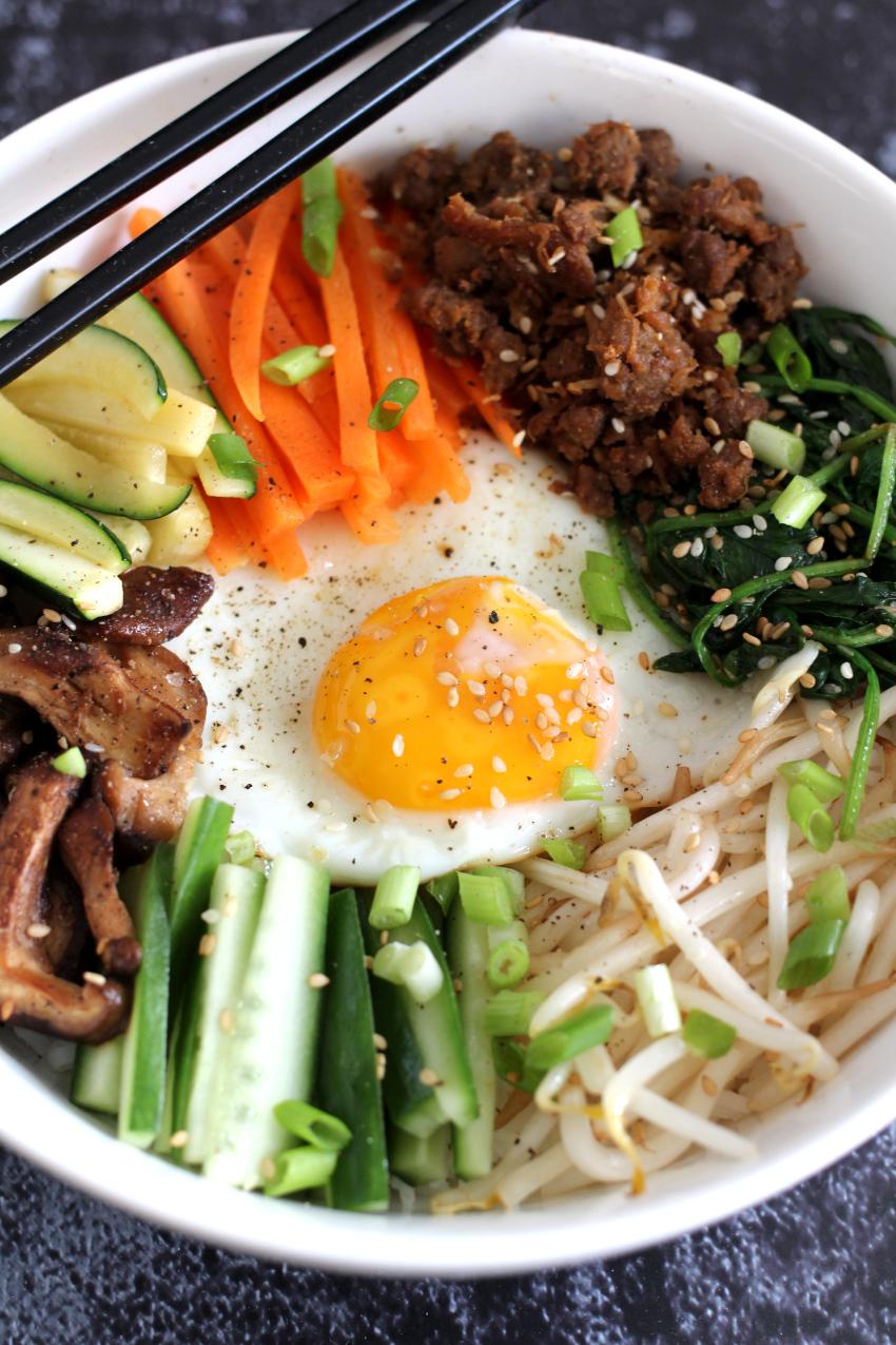 Koreaanse bibimbap recept met pulled oats