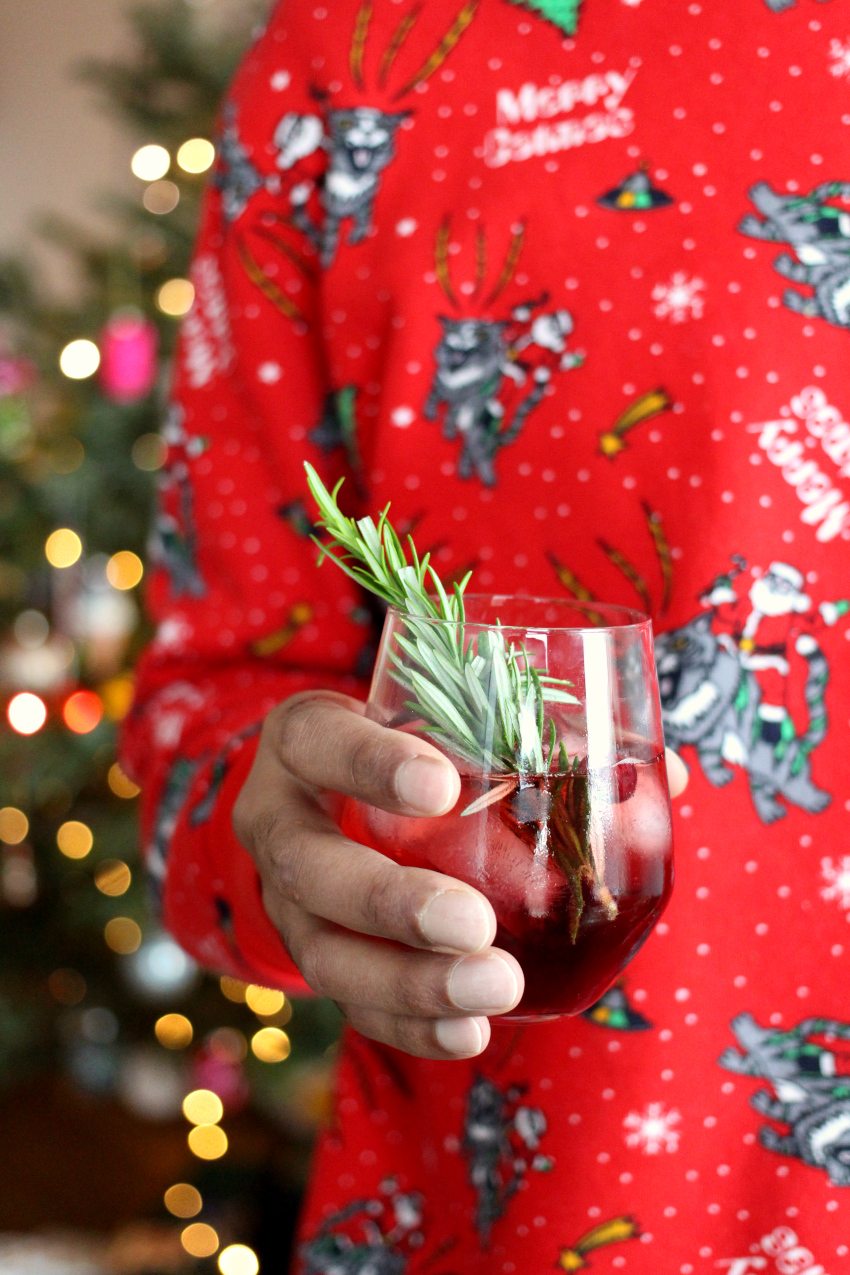 Kerstmis cocktail: maple cranberry Bourbon cocktail